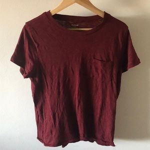 Madewell Dark Red T Shirt with Pocket